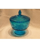 vintage Indiana Glass Harvest Grape pattern BLUE Compote Dish & Cover lid - $34.99