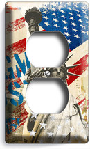 New York City Rustic American Flag Statue Of Liberty Outlet Wall Plate Art Decor - $8.99