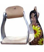 Western Horse Saddle Twisted Angle Aluminum Stirrups Sunflower w/ Leathe... - $43.96