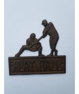 Cast Iron Play Ball Wall Plaque, Baseball, Batter - $19.78