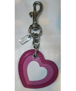 Coach Ombre Layered Leather Heart Charm Key Fob Keychain 8247 Pink Love - $49.00