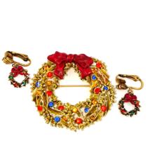 Vintage ART Rhinestone Christmas Wreath Brooch and Earring Set  - $39.00