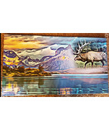 Elk Animal Spirit abstract landscape lake original art on canvas print 2... - $199.00