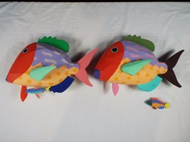 Pair of Colorful Wooden Fish - $46.75