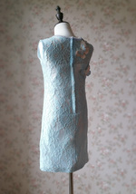Light Blue Lace Flower Girl Dress Short Pencil Blue Birthday Party Dresses NWT image 4