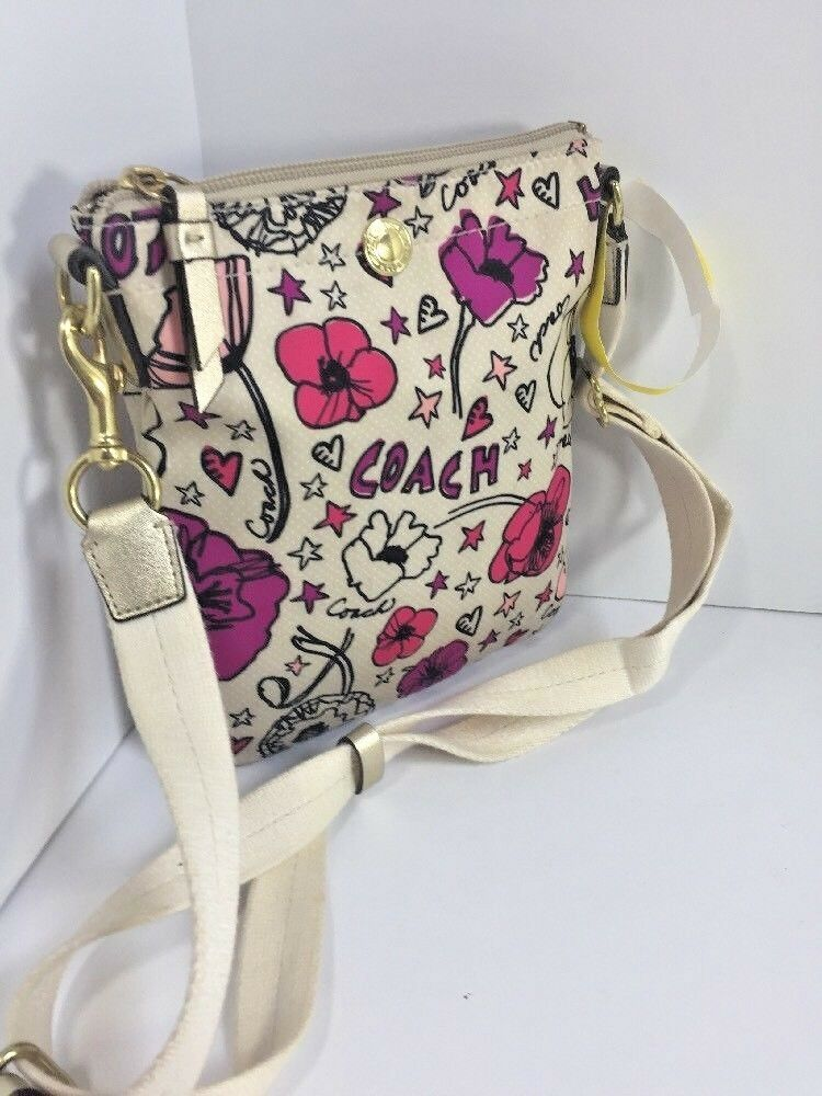 Coach Poppy Kyra Crossbody Bag Rare Floral Swing pack White   Pink 47317 B5