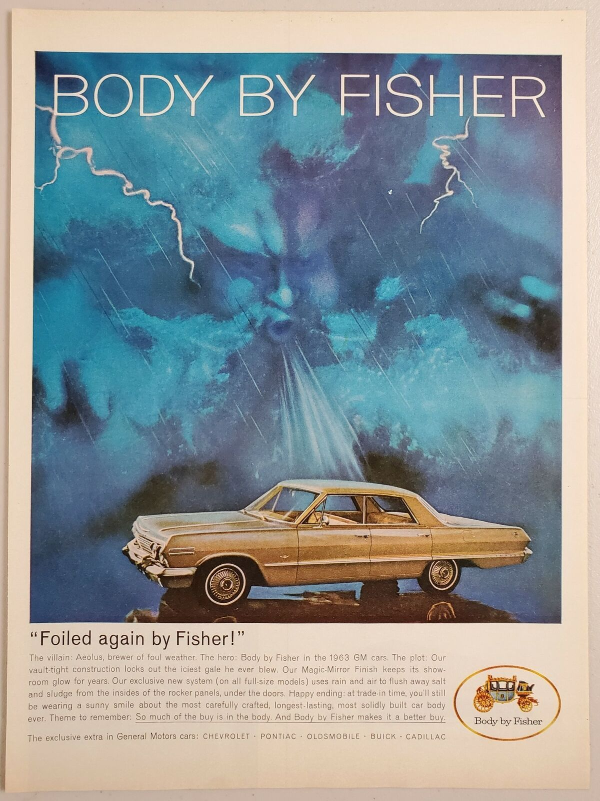 Primary image for 1963 Print Ad Body by Fisher '63 Chevrolet 4-Door Cars