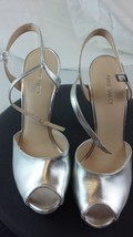 Nine West Heels Silver Metallic Size 7-1/2M Open Toe - $10.88
