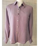 Talbots Women's Petite 6 Lilac 100% Silk Top Long Sleeve Collar Button U... - $13.58