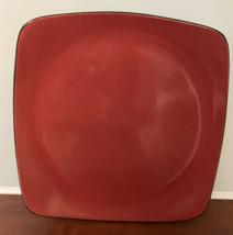 "3 Corning Corelle HEARTHSTONE 11 1/2"" Dinner Plates Chili Red/Square - Stoneware - $39.59"