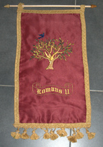 Romans 11 Olive Tree Red Silk Satin Flag Banner Wall Hang Messianic Christian