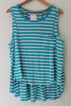 NWT Free People Designer Relaxed Linen Cotton Aqua Combo Sleeveless Top ... - $25.20