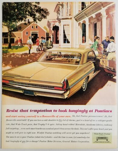 Primary image for 1962 Print Ad Pontiac Bonneville 2-Door Wide Track People at Mansion
