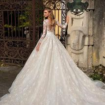 Long Sleeve Appliques Lace A-line Button Up Back Floor Length Princess Wedding G image 2
