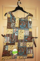 Vintage reversible Bib apron - brown paisley designs - with original tag - $16.10