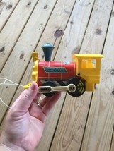 Vintage 1964 Fisher Price Little Wood Toot Toot Train 643 Toddler Baby Pull Toy - $12.59