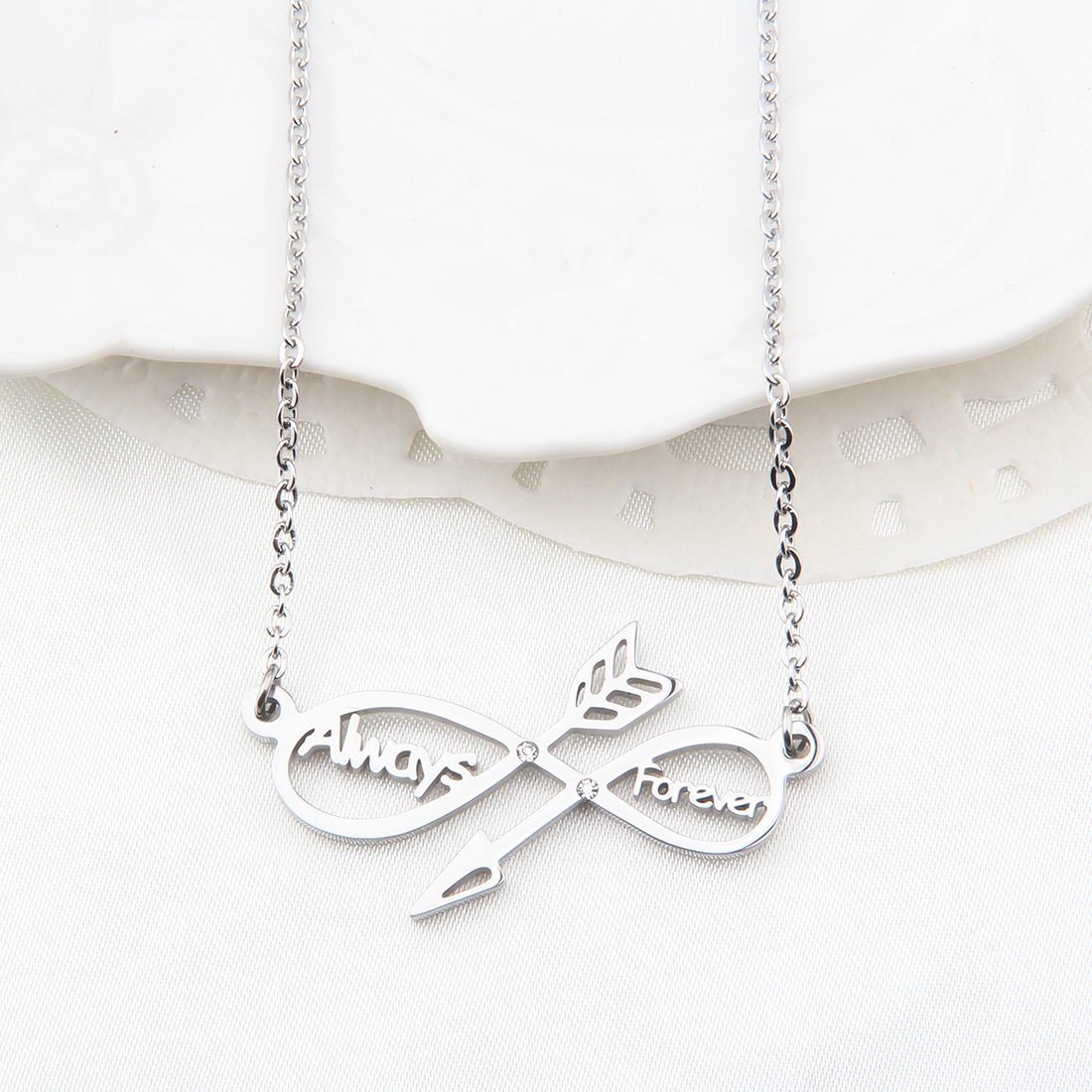 WUSUANED Infinity Necklace- Sideways Arrow Necklace Always ...