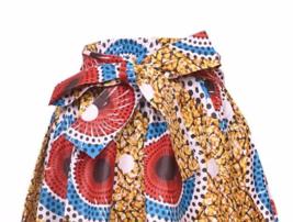 Falda Fit L XL 1X 2X Plus África Impresión de Cera Ankara Oro Rojo Nuevo con image 2