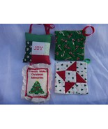 4 OLDER HAND MADE QUILTED CLOTH TYPE CHRISTMAS ORNAMENTS - $11.83
