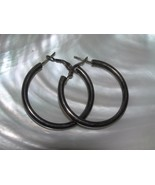 Estate Large Smooth Tubular Nonmagnetic Silver Hoop Earrings for Pierced... - $13.99