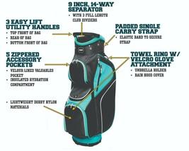Majek Femmes Noir Teal Golf Sac 22.9cm 14-way Idéal Pour Séparateur Haut - $2,210.31