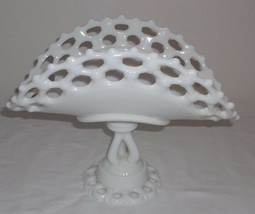 WESTMORELAND MILK GLASS BANANA BOAT ON PEDESTAL 8 1/2'' TALL - $48.38