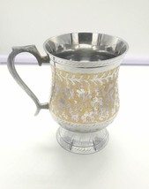 Handcrafted Brass Beer Stein Flower Engraved and Handpainted Brass Mugs - $50.43