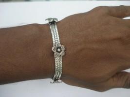 Traditional flower design sterling silver bracelet cuff handmade jewellery - $108.90