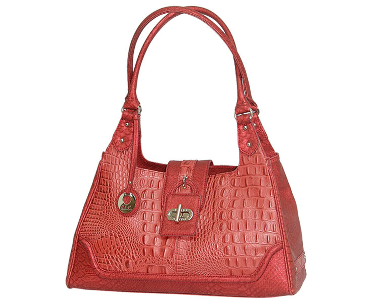 "MC Handbags ""Cindy"" Leather Croco Embossed Rose Hobo Bag - NEW MARKDOWN!"