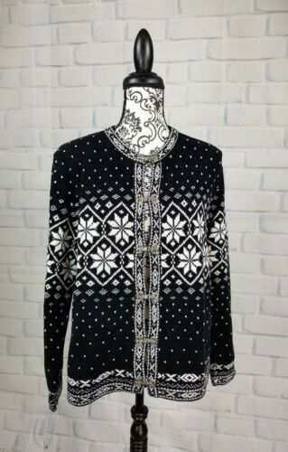 Primary image for Croft & Barrow womens size medium geometic print sweater long sleeve bb08