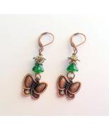 Green and Bronze Butterfly Earrings, Leverback Earrings, Handmade, Gift ... - $10.00