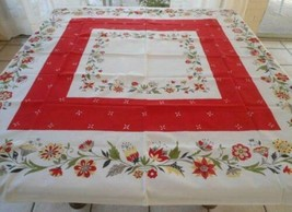 "Vintage 50s Printed Cotton Tablecloth Red Flower Fruit Baskets EUC 51"" - $23.12"