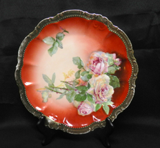 PM Bavaria Porcelain Round Dish Pink Roses Cabinet Plate Heavy Gold Trim... - $40.00