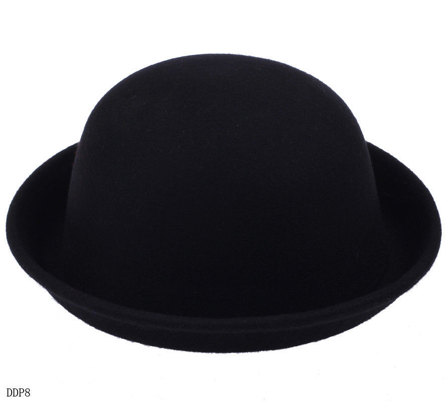 dca703f0742 Retro Women Men Lady Wool Fold Brim Bowler Derby Top Hat Billycock Cap  Cloche