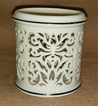 Lenox Reticulated Tealight Filigree Candle Holder Ivory Porcelain w/ Gol... - $10.88