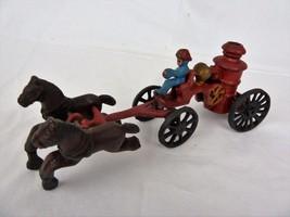 Vintage Cast Iron Horse Drawn Fire Engine Pumpe... - $24.99