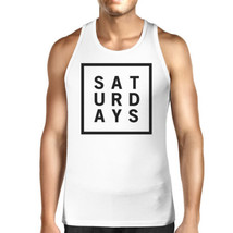 Saturdays Mens White  Sleeveless Tank Top Simple Typography Top - $14.99