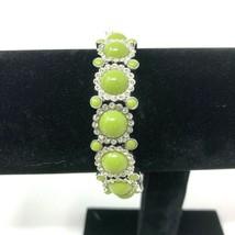 Lia Sophia Sparker Silver Tone Green Grass Clear Beads Stretch Bracelet - $18.76
