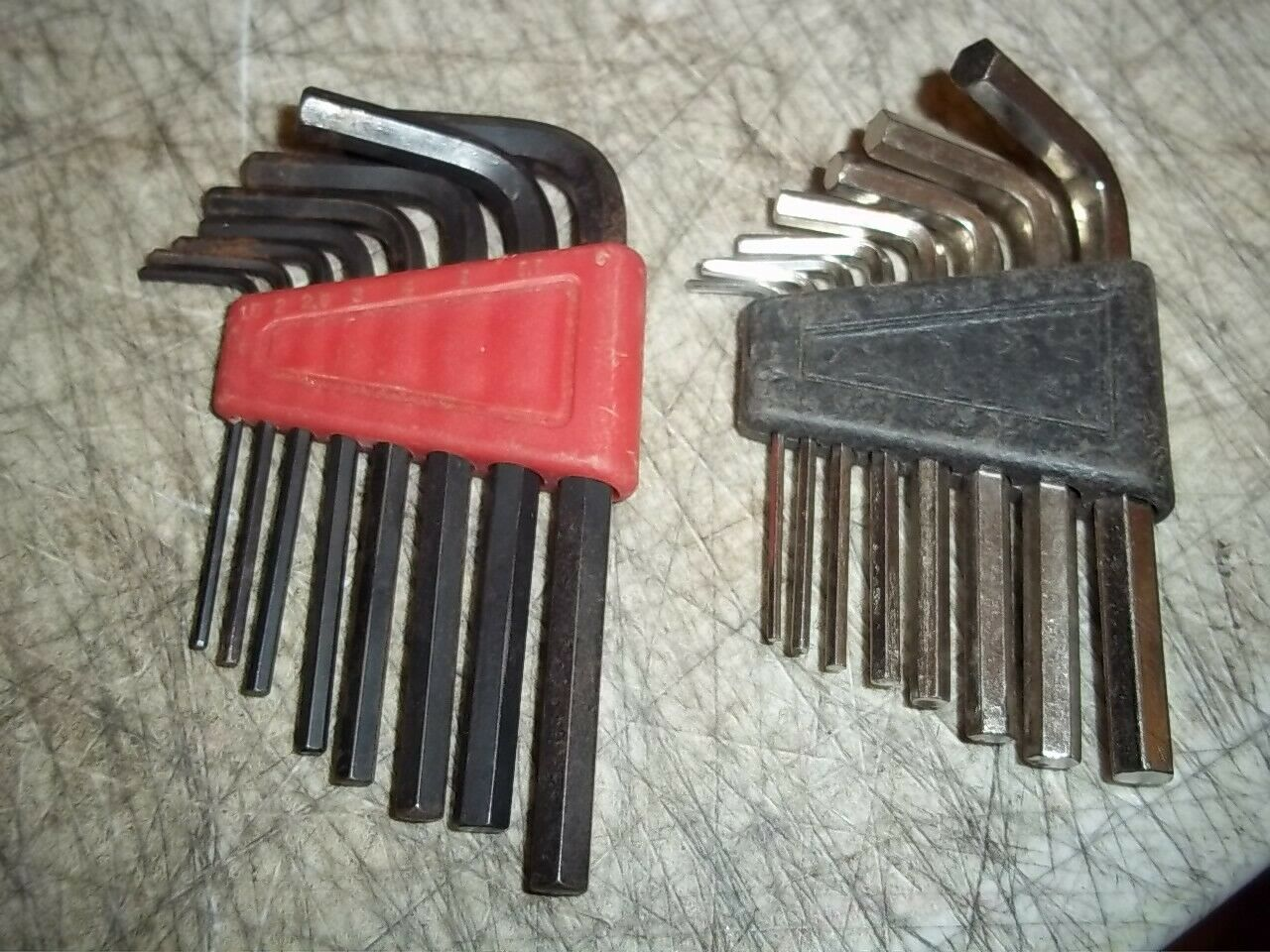 2 SETS 8 KEYS EA. L HEX KEY ALLEN WRENCHES INCHES & 1-6 IS THAT METRIC? - $8.90
