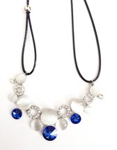 H&G White Gold Plate Crystal Rhinestone Opal Round Choker Necklace for W... - $6.85