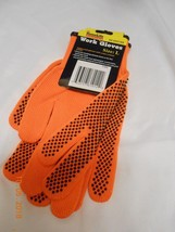 New Home Life Essentials orange Work Gloves w/ latex coated palms size l... - $7.43