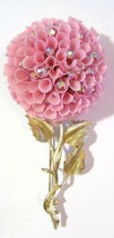 VERY LARGE SOFT PINK PLASTIC FRILLY CARNATION WITH AB RHINESTONES FLOWER... - $15.00