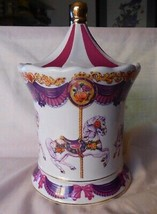 Teleflora Carousel Music Box Candy Jar Container Schmid Musical Movement - $35.00