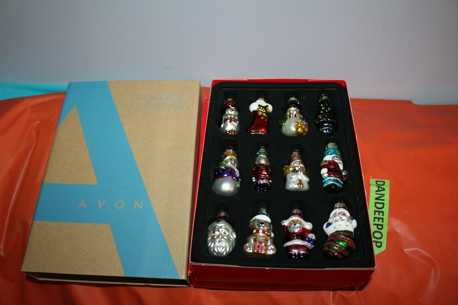 Avon Set Of 12 Glass Christmas Holiday Tree Ornaments