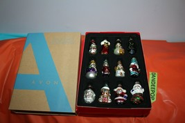 Avon Set Of 12 Glass Christmas Holiday Tree Ornaments image 1