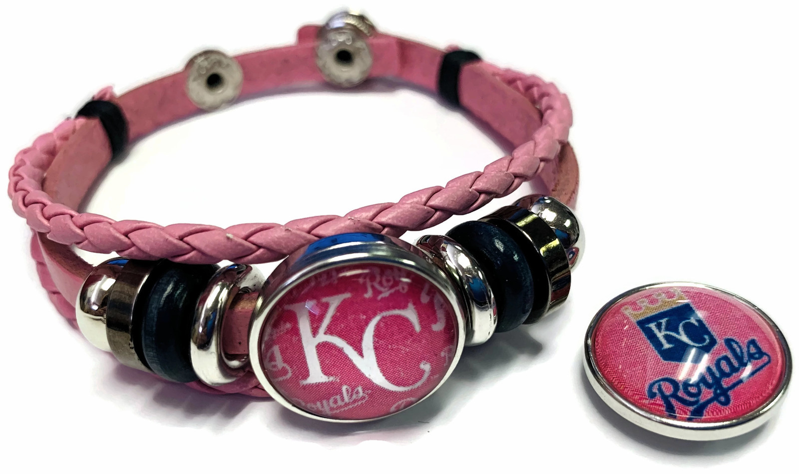 Primary image for Breast Cancer MLB KC Royals Pink Leather Bracelet W/2 Snap Jewelry Charms