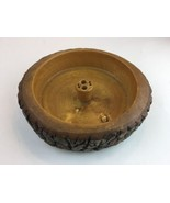 "Vintage wood  Solid Wooden Tree Bark Large Nut Cracker Bowl 8½"" - $23.36"