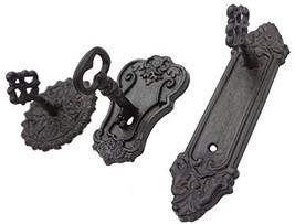 Lulu Decor, Cast Iron Antique Key Shaped Set of 3 Hooks in (Black - 3 Ho... - $33.59