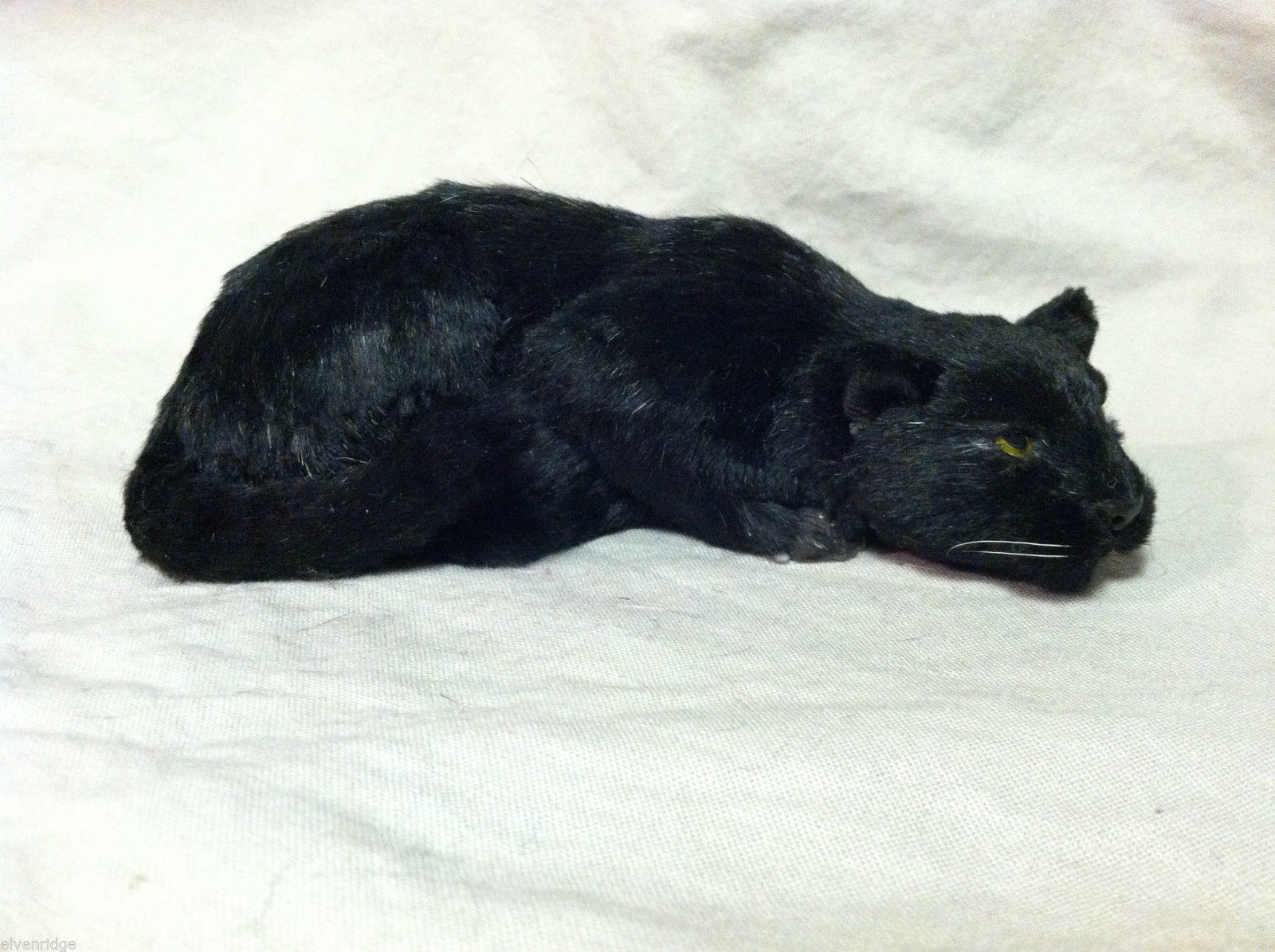 Black Panther Cat Animal Figurine - recycled rabbit fur