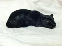 Black Panther Cat Animal Figurine - recycled rabbit fur